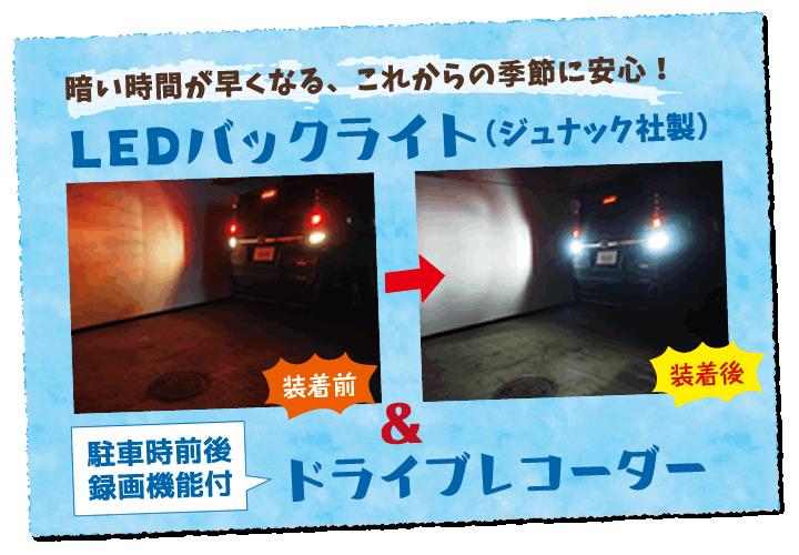 、LEDバックライト&ドライブレコーダー