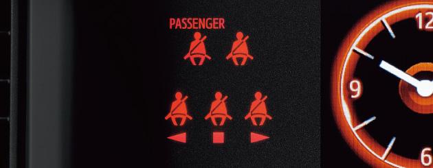 全席シートベルト締め忘れ警告灯